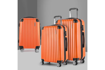 3pc Luggage Sets Suitcases Orange Trolley TSA Hard Case Lightweight