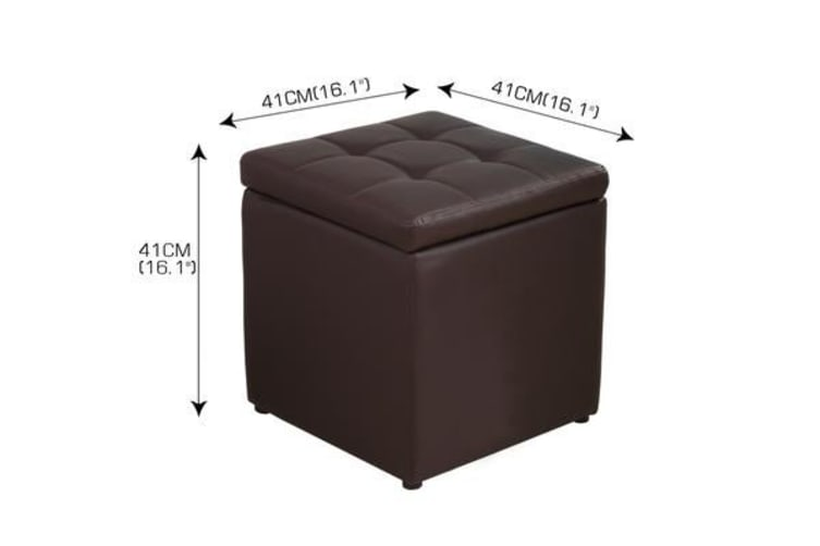 PU Leather Cube Ottoman Box Footstools BLACK