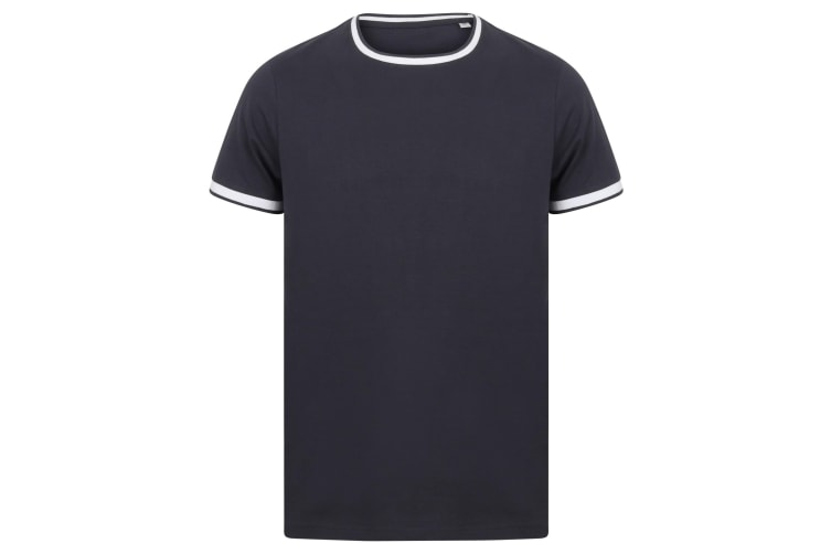 Front Row Mens Tag Free Tipped Tee (Navy/White) (S)
