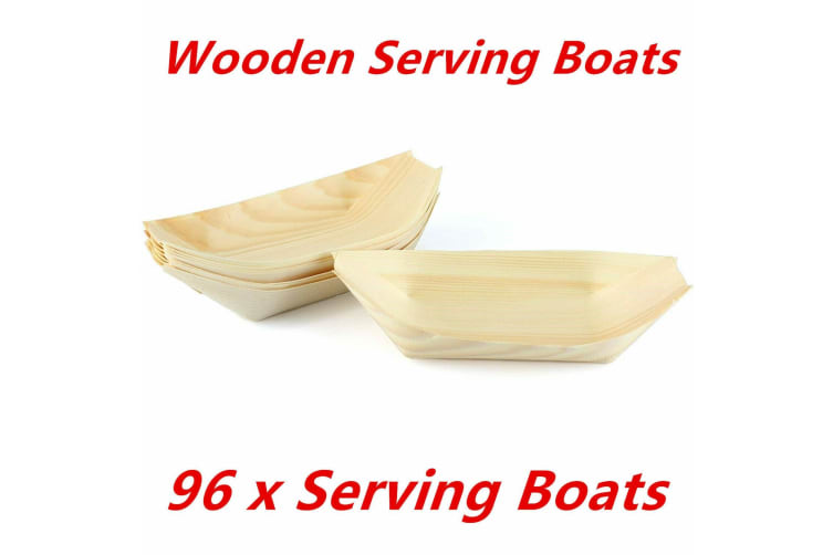 96 x Boat Eco Plate Bamboo Bowls Biowood Serving Dish Wooden Tray Plate Party 18x10cm