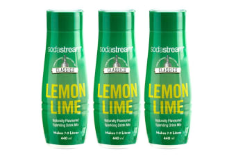 3x SodaStream Classics Lemon Lime 440ml/Sparkling Soda Water Syrup Drink Mix