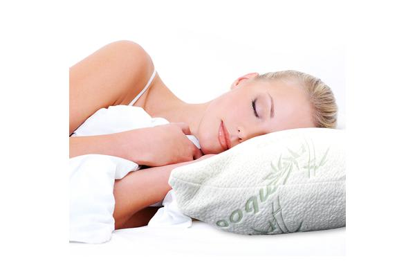 2 Pcs Luxury tural Bamboo Memory Foam Pillow With Fabric Cover 60x40cm