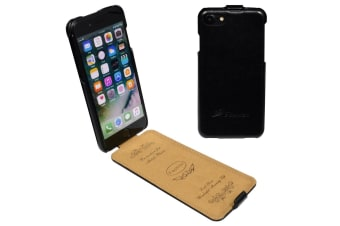 For iPhone 8 7 Case Fashion Stylish Vertical Flip Protective Leather Cover Black