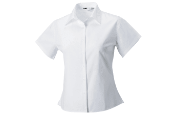 Russell Collection Womens/Ladies Short Sleeve Classic Twill Shirt (White) (XS)