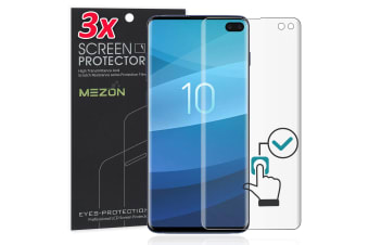 [3 Pack] MEZON Ultra Clear Edge-to-Edge Full Coverage Screen Protector Film for Samsung Galaxy S10+ – Case Friendly, Shock Absorption, Fingerprint Sensor Compatible