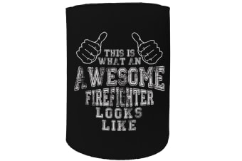 123t Stubby Holder - awesome firefighter - Funny Novelty