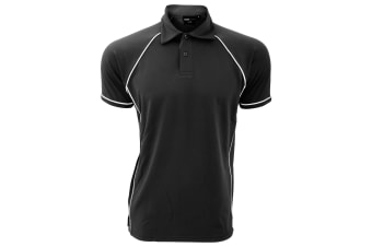 Finden & Hales Mens Piped Performance Sports Polo Shirt (Black/White)