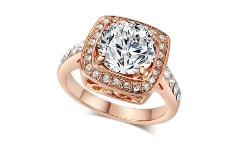 Shinning Cubic Zirconia Topaz Rings For Women 18K Rose Gold Plated