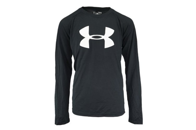 Under Armour Boys' Big Logo L/S T-Shirt (Black/White, Size M)