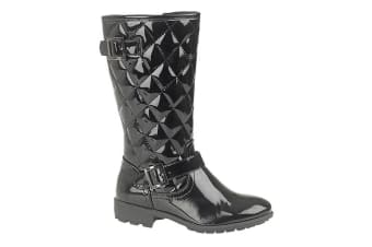 Boulevard Girls High Leg Twin Buckle/Zip Quilted Fashion Boots (Black Patent) (1 UK)