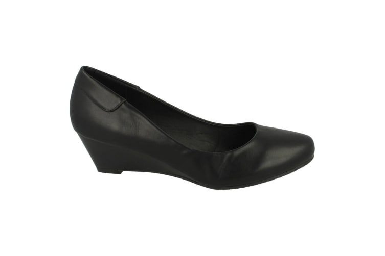 Spot On Womens/Ladies Low Wedge Court Shoes (Black) (5 UK)