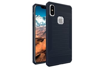 For iPhone XS X Case Styled Soft Brushed Texture Protective Cover Navy