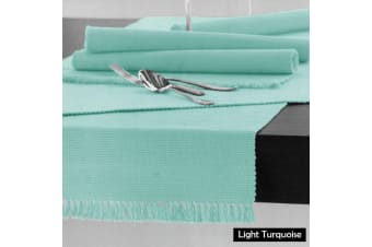 Cotton Ribbed Table Runner Light Turquoise by Hoydu