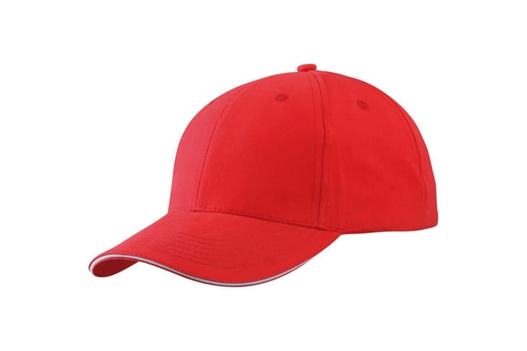 Myrtle Beach Adults Unisex Light Brushed Sandwich Cap (Red/White) (One Size)