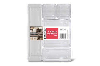 5pc Box Sweden Organiser Drawer/Wardrobe Home Storage Container Boxes Set Clear