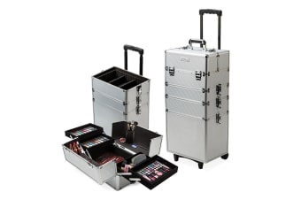 Effleur 7 in 1 Beauty Makeup Case Cosmetics Portable Trolley Holder Silver Box Organiser