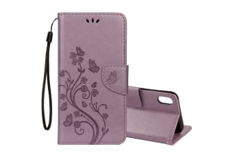 For iPhone XS MAX Case Embossed Butterfly Flip Leather Wallet Stand Cover Purple