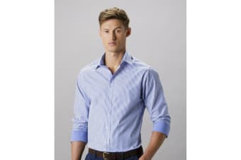 Clayton & Ford Mens Bengal Long Sleeve Tailored Stripe Shirt (Mid Blue/White)