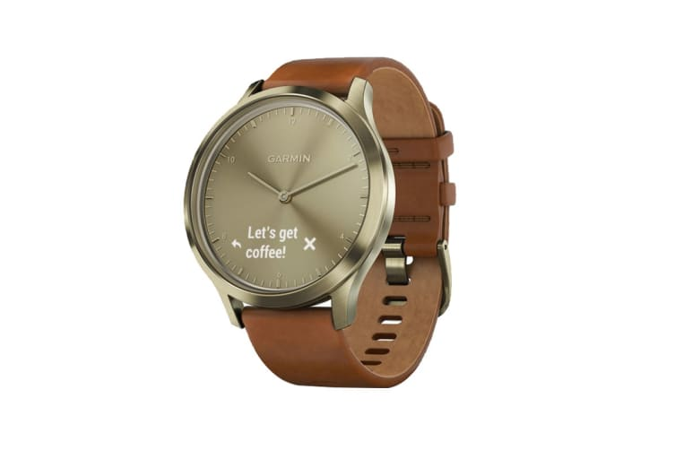 Garmin Vivomove HR Premium (Light Gold Stainless Steel Case with Light Brown Leather Band)