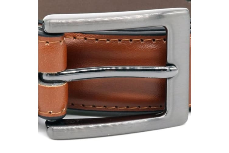 Duke Mens Anthony Square Buckle Edge Stitched Leather Belt (Tan) (36in)