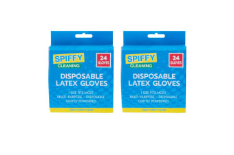 2x 24pc Spiffy Multipurpose Disposable Rubber Latex Gloves Lightly Powdered