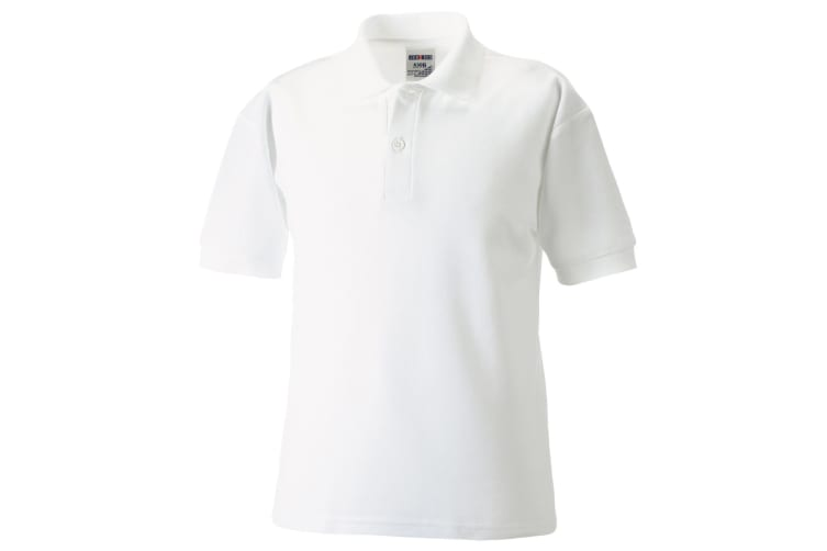 Jerzees Schoolgear Childrens 65/35 Pique Polo Shirt (Pack of 2) (White) (9-10)