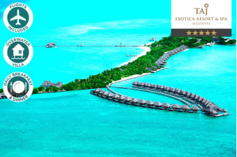 MALDIVES: 5 Nights in an Overwater Lagoon Villa with Ocean View at Taj Exotica Resort & Spa Including Flights for Two (Departing SYD/MEL/BNE/ADL/PER)