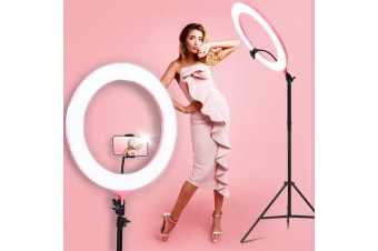 "Embellir 19"" LED Ring Light with Phone Holder 6500K 5800LM Dimmable Diva Stand MakeUp Studio Video Pink"