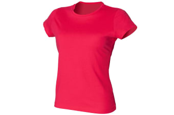 Skinni Fit Ladies/Womens Favourite Longer Length T-Shirt (Hot Pink)