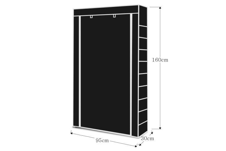 9 Tiers Tall Shoe Rack Shelf Stand Storage Solution w/ Fabric Cover-Black