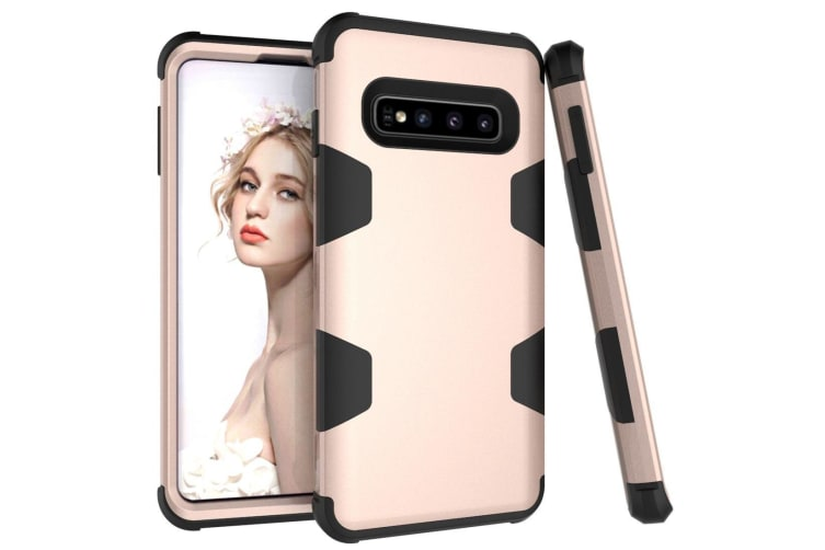 For Samsung Galaxy S10 Plus Case  Gold Armour TPU & PC Grip Back Cover