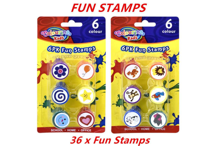 36 x Fun Stamps Set Stationery Kids Gift Party Toy Art Craft Animal Flower Heart Star