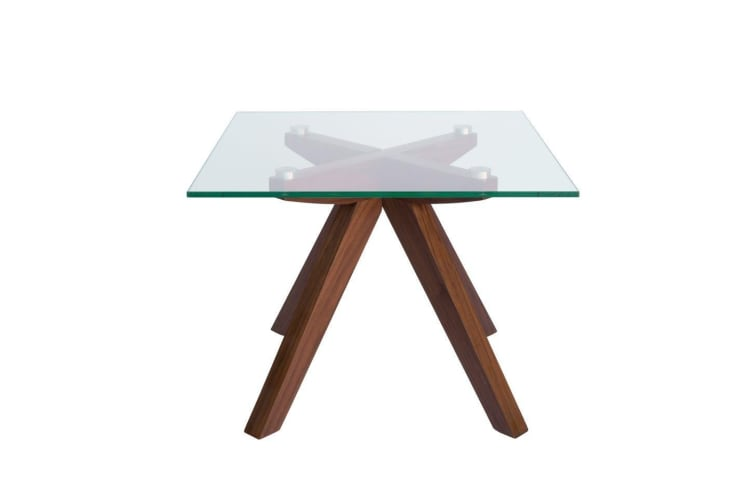 Amber Collection | Glass Side Table | Walnut