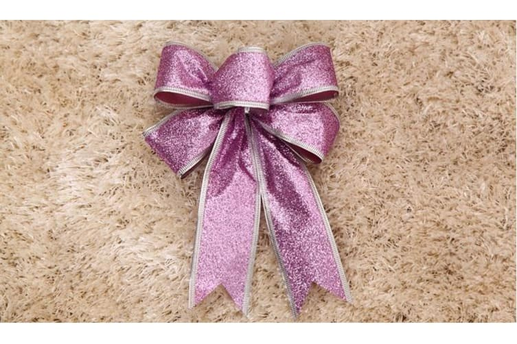 2x Christmas Glitter Bows Bowknot Door Window Wreath Tree Topper Xmas Decoration - Purple