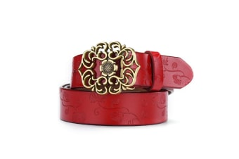 Women'S Leather Belt Carved Ladies Pure Retro Leather Belt Red 110Cm