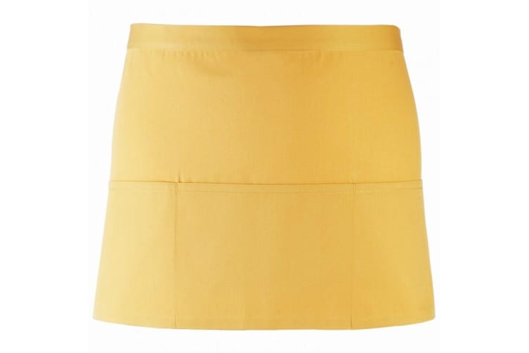 Premier Ladies/Womens Colours 3 Pocket Apron / Workwear (Pack of 2) (Sunflower) (One Size)