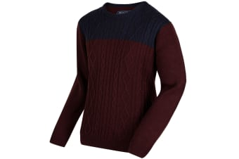 Regatta Mens Koby Mid Weight Cable Knit Sweater (Bitter Chocolate/Navy) (3XL UK)