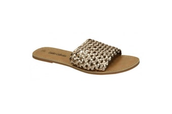Leather Collection Womens/Ladies Flat Weave Mule Sandals (Gold Leather)