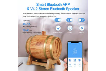 350Ml Bluetooth Speaker Humidifier Aromatherapy Diffuser Ultrasonic Led - Oak Wood