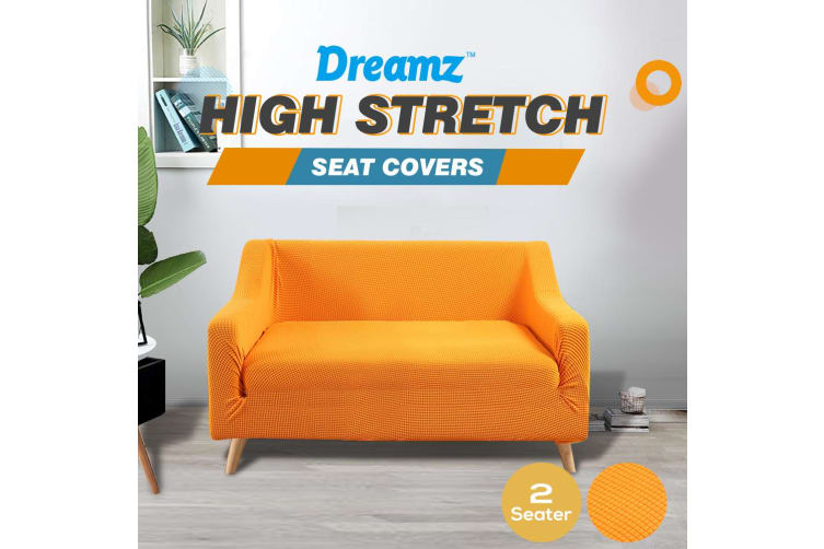 Dreamz Couch Stretch Sofa Lounge Cover Protector Slipcover 2 Seater Orange New