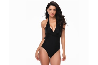 Women'S Swimsuit Sexy Deep V Bikini Triangle Swimsuit - Black Black L