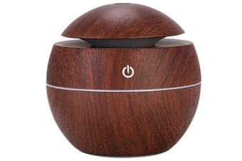 Air Purifier - USB Atomizing Humidifier Spherical Ball Household Wood Grain Air Purifier, Can Be Used in The Car-DARK