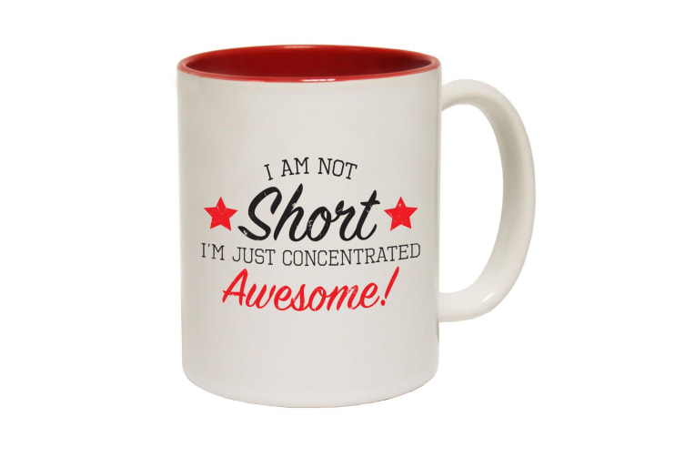 123T Funny Mugs - Short Concentrated Awesome - Red Coffee Cup