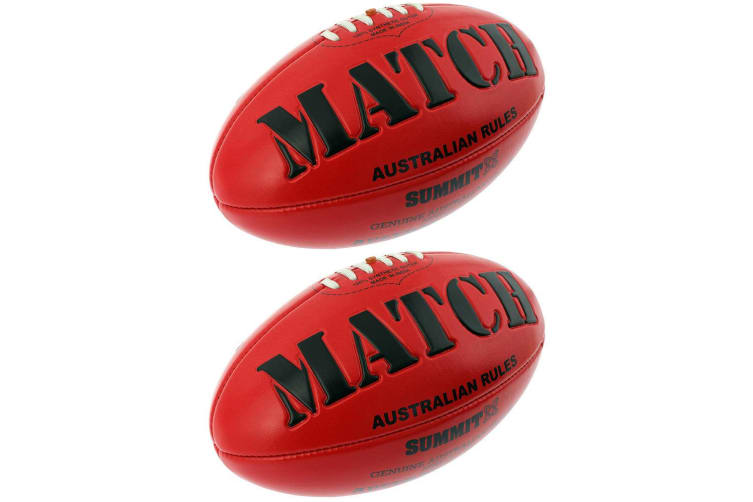 2PK Summit Global Match AFL Ball Embossed Red Australian Rules Football Game