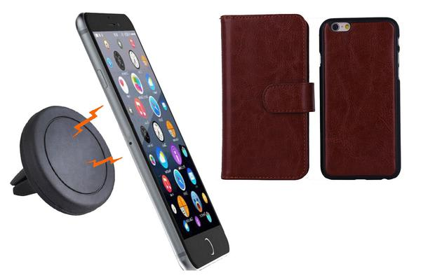 TODO Magnetic Quick Snap Car Air Vent Mount Leather Card Case Iphone 6+ Plus - Brown