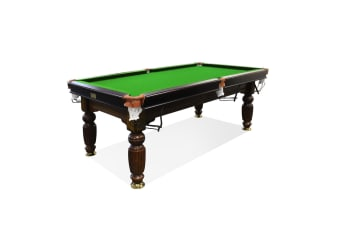 8FT Luxury Slate Pool Table Solid Timber Billiard Table Professional Snooker Game Table with Accessories Pack,Walnut Frame / Green Felt
