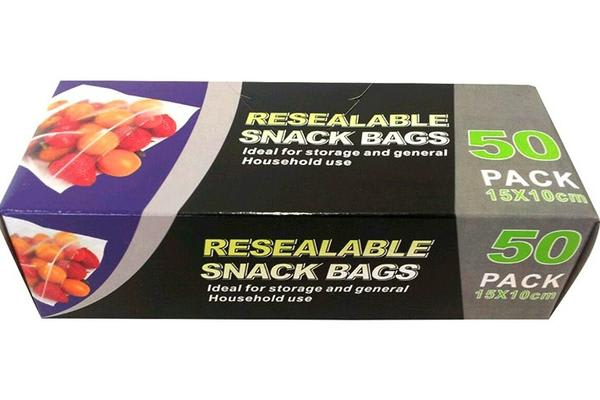 Resealable Pack 50 Snack Bags