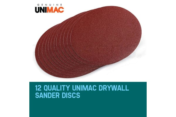NEW Unimac 12x150 Grit - 225mm Hook & Loop Plaster Sanding Discs Drywall Sander