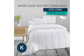 King Size 500GSM 50/50 White Duck Down Feather Quilt-Winter Weight