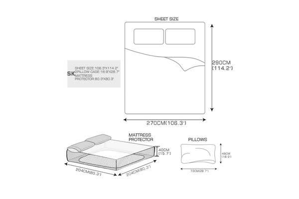 4 Piece Bed Sheet Set,Flat,Fitted,Pillowcases SEASPRAY King